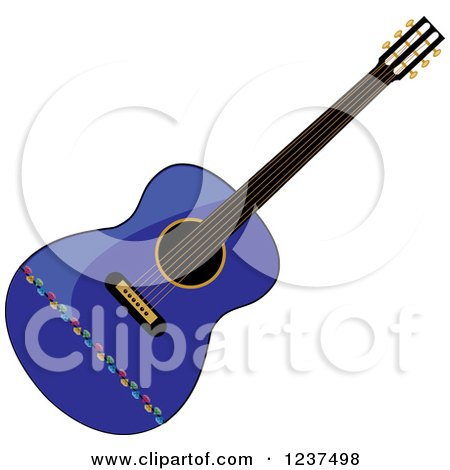 Clipart of a Fancy Blue Guitar - Royalty Free Vector Illustration by Pams Clipart