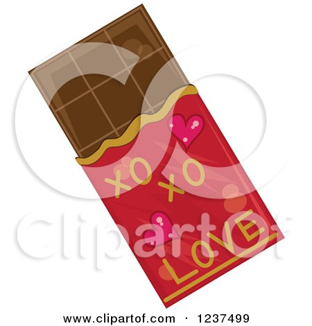 Clipart of a Valentine Chocolate Bar - Royalty Free Vector Illustration by Pams Clipart