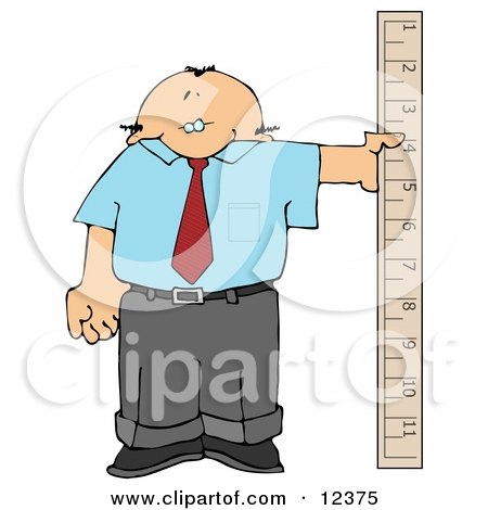 Balding Businessman Holding a Large Ruler Clipart Picture by djart
