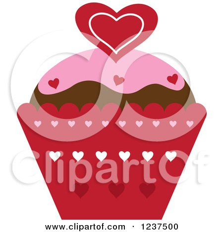 Clipart of a Valentine Cupcake with Hearts - Royalty Free Vector Illustration by Pams Clipart