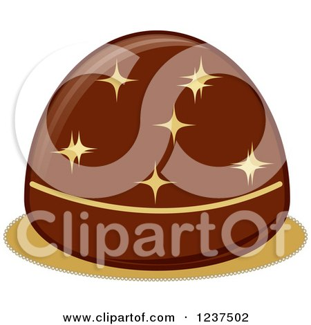 Clipart Of A Valentine Chocolate Truffle With Sparkles Royalty Free Vector Illustration