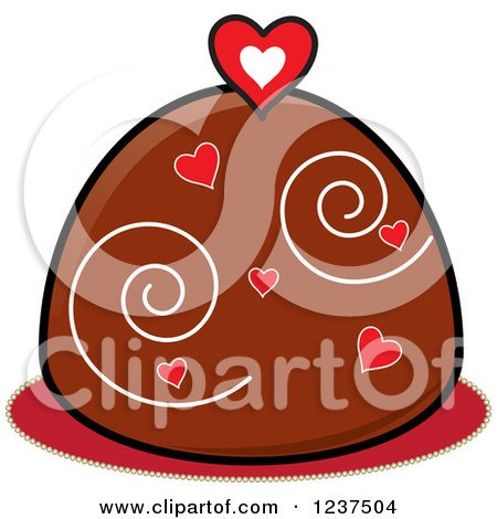 Clipart of a Valentine Chocolate Truffle with Hearts and Swirls - Royalty Free Vector Illustration by Pams Clipart