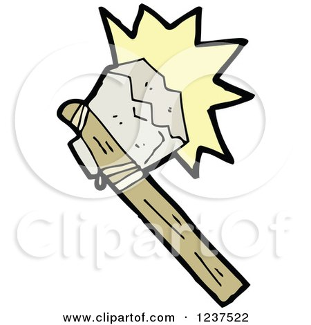 Clipart of a Primitive Axe Making Contact - Royalty Free Vector Illustration by lineartestpilot