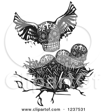 Clipart of a Woodcut Winged Skull over Other Skulls in a Nest - Royalty Free Vector Illustration by xunantunich