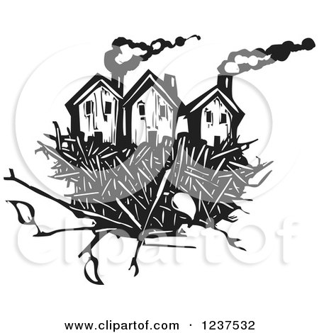 Clipart of Woodcut Homes in a Nest, Black and White - Royalty Free Vector Illustration by xunantunich