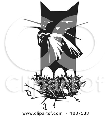 Clipart of a Woodcut Cat with a Dead Bird over a Nest, Black and White - Royalty Free Vector Illustration by xunantunich