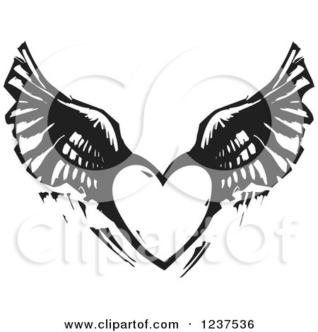 Clipart of a Woodcut Flying Winged Heart in Black and White - Royalty Free Vector Illustration by xunantunich