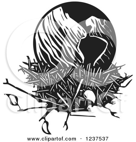 Clipart of a Woodcut Black and White Earth in a Nest - Royalty Free Vector Illustration by xunantunich