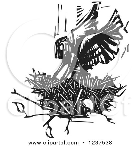Clipart Of A Woodcut Angel In A Nest In Black And White Royalty Free Vector Illustration