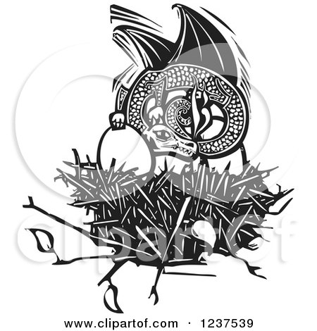 Clipart of a Woodcut Dargon Protecting Eggs in a Nest, Black and White - Royalty Free Vector Illustration by xunantunich