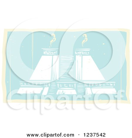 Clipart of a Mayan Double Pyramid - Royalty Free Vector Illustration by xunantunich