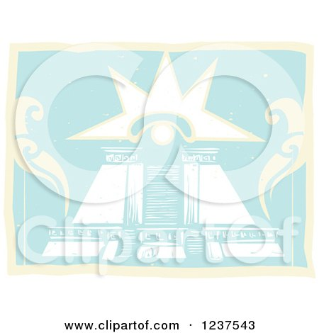 Clipart of a Mayan Double Pyramid with Venus Eye - Royalty Free Vector Illustration by xunantunich