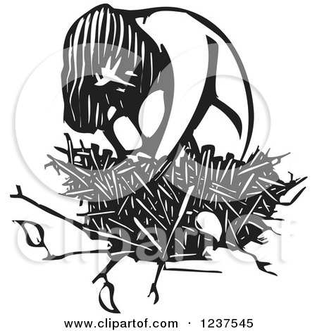 Clipart of a Woodcut Sad Girl Hugging Her Knees in a Nest, in Black and White - Royalty Free Vector Illustration by xunantunich