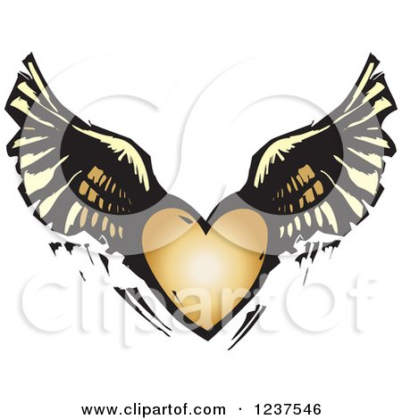 Clipart of a Woodcut Flying Winged Heart - Royalty Free Vector Illustration by xunantunich