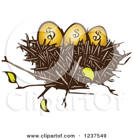 Clipart of a Woodcut Nest with Golden Dollar Eggs - Royalty Free Vector Illustration by xunantunich