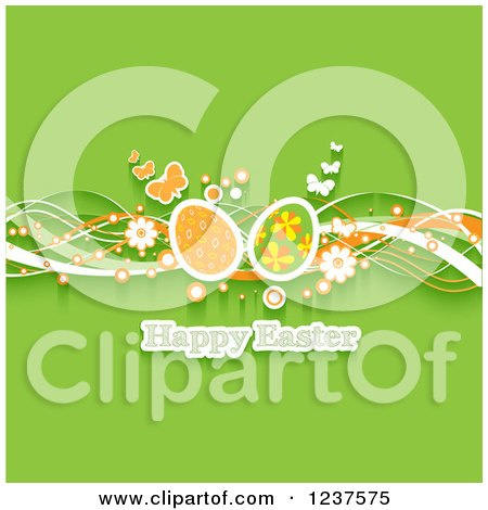 Clipart of a Happy Easter Greeting with Waves Flowers Butterflies and Eggs on Green - Royalty Free Vector Illustration by KJ Pargeter