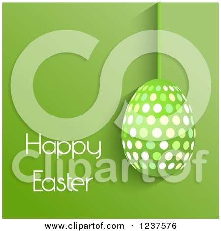 Clipart of a Suspended Polka Dot Egg and Happy Easter Text on Green - Royalty Free Vector Illustration by KJ Pargeter