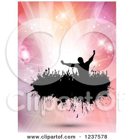 Clipart of Black Silhouetted People Dancing on a Black Splatter over Pink Flares and Lights - Royalty Free Vector Illustration by KJ Pargeter