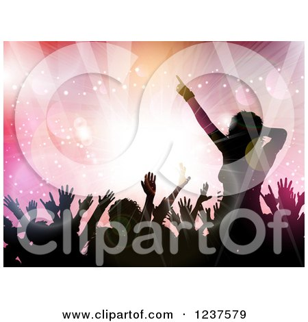 Clipart of Black Silhouetted People Dancing over Pink Flares and Lights - Royalty Free Vector Illustration by KJ Pargeter