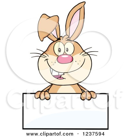 Clipart of a Happy Brown Rabbit over a Blank Sign - Royalty Free Vector Illustration by Hit Toon