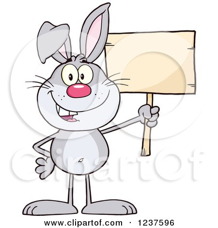 Clipart of a Happy Gray Rabbit Holding a Wooden Sign - Royalty Free Vector Illustration by Hit Toon