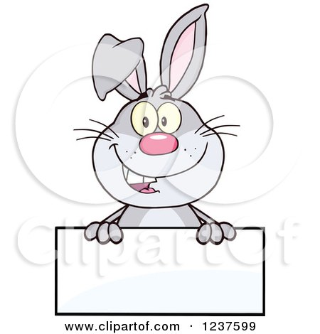 Clipart of a Happy Gray Rabbit over a Blank Sign - Royalty Free Vector Illustration by Hit Toon