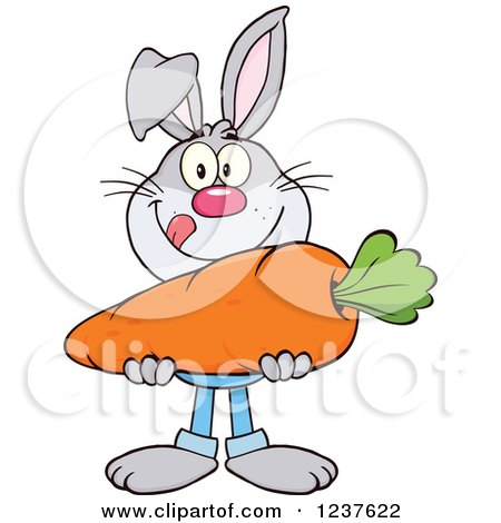 Clipart of a Gray Rabbit Holding a Giant Carrot - Royalty Free Vector Illustration by Hit Toon