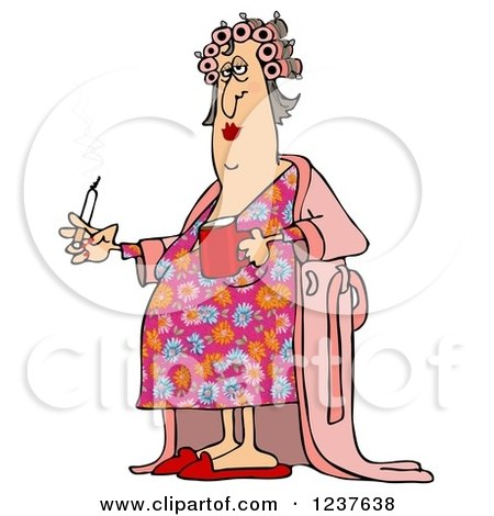 Clipart of a Fat White Woman in Curlers and a Robe, Smoking a Cigarette and Holding Coffee - Royalty Free Illustration by djart
