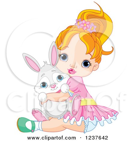 Clipart of a Red Haired Caucasian Toddler Girl Hugging a Cute Bunny on Easter - Royalty Free Vector Illustration by Pushkin