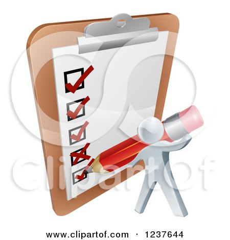 Clipart of a 3d Silver Man Filling out a Survey on a Giant Clipboard - Royalty Free Vector Illustration by AtStockIllustration