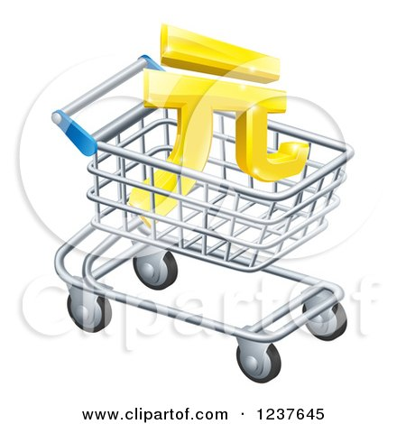 Clipart of a 3d Golden Yuan Currency Symbol in a Shopping Cart - Royalty Free Vector Illustration by AtStockIllustration