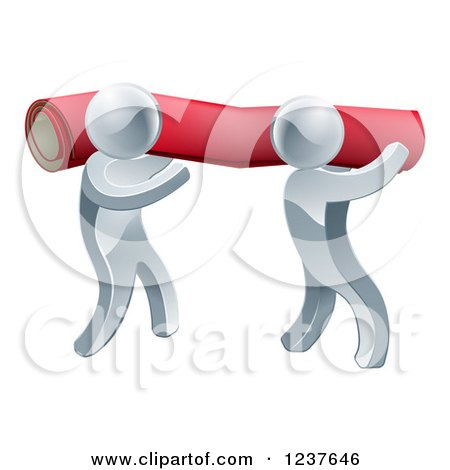 3d Silver Carpet Installers Carrying a Roll Posters, Art Prints