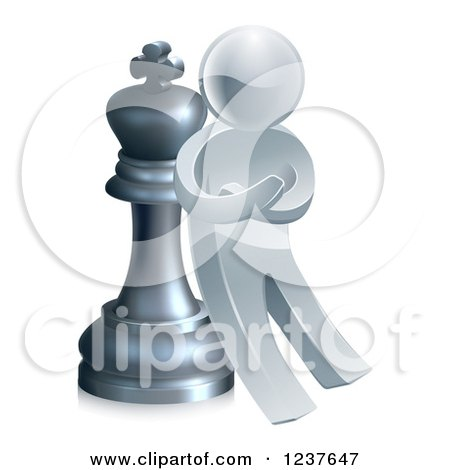 Clipart of a 3d Strategic Silver Man Leaning Against a King Chess Piece - Royalty Free Vector Illustration by AtStockIllustration