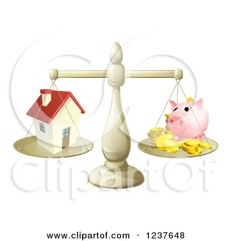 Clipart of a Scale Comparing a House and Piggy Bank - Royalty Free Vector Illustration by AtStockIllustration