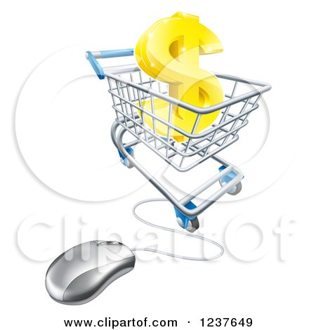 Clipart of a 3d Gold Dollar Symbol in a Shopping Cart with a Computer Mouse - Royalty Free Vector Illustration by AtStockIllustration