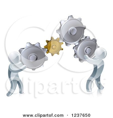 Clipart of 3d Silver Men Working As a Team with Gear Cogs - Royalty Free Vector Illustration by AtStockIllustration