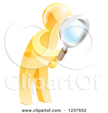 Clipart of a 3d Gold Man Searching with a Magnifying Glass - Royalty Free Vector Illustration by AtStockIllustration