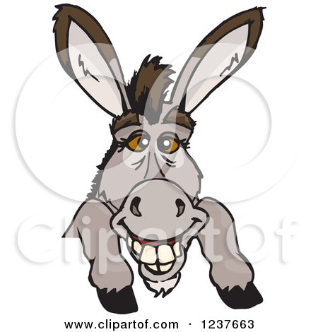 Clipart of a Happy Donkey Smiling over a Sign - Royalty Free Vector Illustration by Dennis Holmes Designs