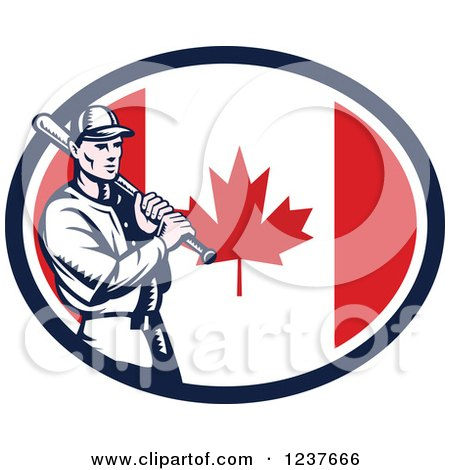 Clipart of a Woodcut Baseball Player Batting over a Canadian Flag Oval - Royalty Free Vector Illustration by patrimonio