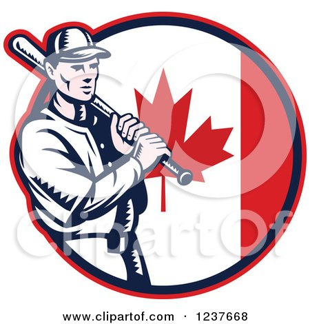 Clipart of a Woodcut Baseball Player Batting over a Canadian Flag Circle - Royalty Free Vector Illustration by patrimonio