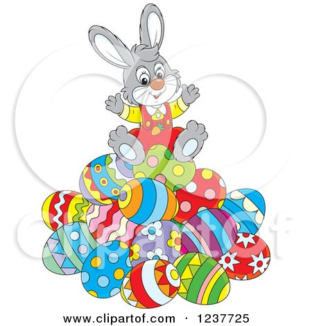 Clipart of a Cute Cheerful Gray Easter Bunny Sitting on a Pile of Eggs - Royalty Free Vector Illustration by Alex Bannykh