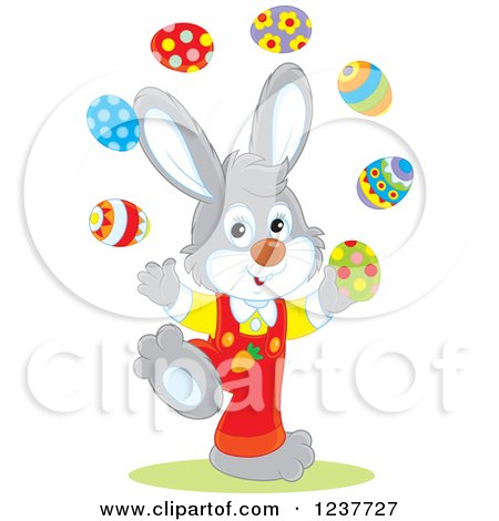 Clipart of a Cute Gray Easter Bunny Juggling Eggs - Royalty Free Vector Illustration by Alex Bannykh
