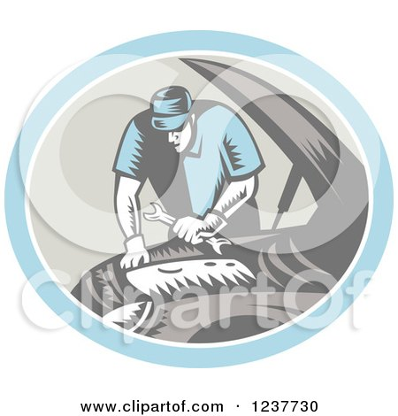 Clipart of a Retro Woodcut Auto Mechanic Working on an Engine - Royalty Free Vector Illustration by patrimonio