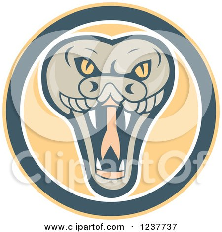 Clipart of a Snapping Rattlesnake in a Circle - Royalty Free Vector Illustration by patrimonio