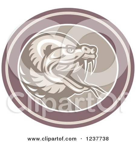 Clipart of a Retro Angry Rattlesnake in an Oval - Royalty Free Vector Illustration by patrimonio