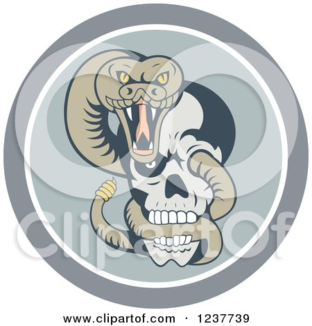 Clipart of a Rattlesnake Coiled Through a Human Skull in a Circle - Royalty Free Vector Illustration by patrimonio