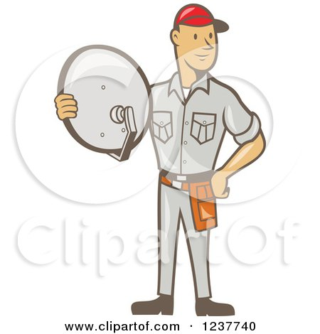 Clipart of a Cartoon Satellite Tv Installer Man - Royalty Free Vector Illustration by patrimonio