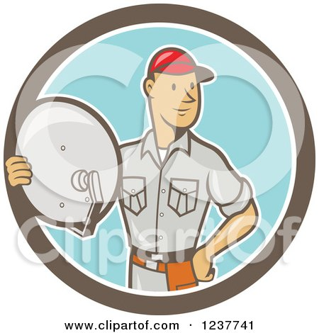 Clipart of a Cartoon Satellite Tv Installer Man in a Circle - Royalty Free Vector Illustration by patrimonio