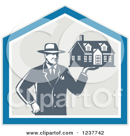 Clipart of a Retro Male Real Estate Agent Holding a House in a Shield - Royalty Free Vector Illustration by patrimonio