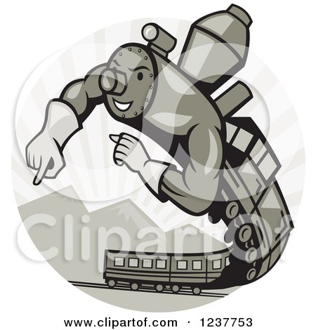 Clipart of a Muscular Super Hero Train Flying over Mountains - Royalty Free Vector Illustration by patrimonio